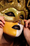 Woman In Golden Half Mask Stock Photography