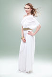 Woman In Greek Inspired White Dress, Smiling, Stock Photo