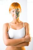 Woman In Half Facial Mask Royalty Free Stock Photo