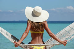 Woman In Hammock On Beach Royalty Free Stock Images