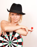 Woman In Hat Holds Board For Darts On White Royalty Free Stock Photo