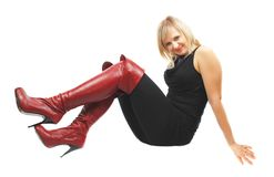Woman In High Red Boots. Royalty Free Stock Photography