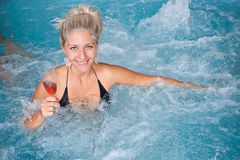 Woman In Jacuzzi Stock Images