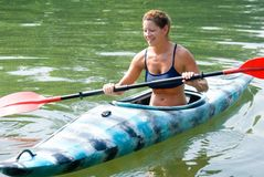 Woman In Kayak Royalty Free Stock Photos
