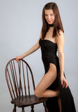 Woman In Long Black Dress Stock Photo