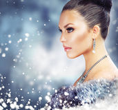 Woman In Luxury Fur Coat Stock Images