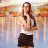 Woman In Night City Royalty Free Stock Photos