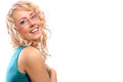 Woman In Pink Glasses Royalty Free Stock Photography
