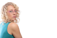 Woman In Pink Glasses Royalty Free Stock Photo