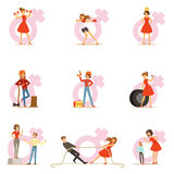 Woman In Red Dress Taking On Traditional Male Roles And Exchanging Places With Man, Series Of Feminism Illustration And Royalty Free Stock Photo