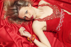 Woman In Red Linen Royalty Free Stock Photography