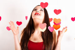 Woman In Red On Valentine S Day Stock Images
