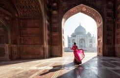 Free Woman In Red Saree/sari In The Taj Mahal, Agra, Uttar Pradesh, India Stock Images - 168763504