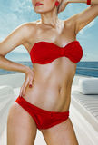 Woman In Red Underwear On Yacht Royalty Free Stock Photos