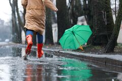 Free Woman In Rubber Boots Running After Umbrella On Rainy Day, Closeup Royalty Free Stock Photos - 172635008