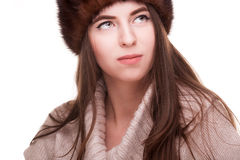 Woman In Russian Hat Looking Away Royalty Free Stock Photography