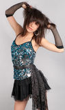 Woman In Sequin Top And Mini Skirt Stock Image