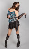 Woman In Sequin Top And Mini Skirt Stock Images