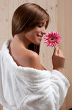 Woman In Spa Or Sauna Relax Center With Flower Royalty Free Stock Photos