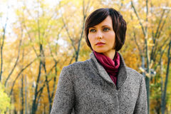 Woman In The Autumn Forest Royalty Free Stock Photo