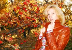 Woman In The Autumn Park. Royalty Free Stock Photo
