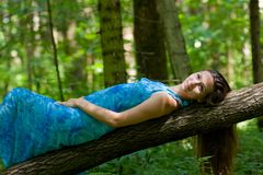Woman In The Forest Stock Images