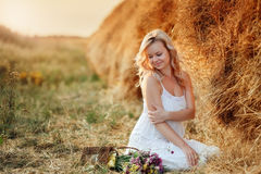Woman In The Hay Stock Photos