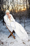 Woman In The Winter Forest Royalty Free Stock Photography