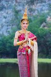 Woman In Traditional Thai Dress Doing Gesture We Stock Photo