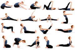 Woman In Various Sitting Yoga Poses Stock Photography