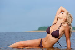 Woman In Water Wearing Bikini Stock Image