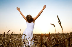 Woman In Wheat Field Royalty Free Stock Photos