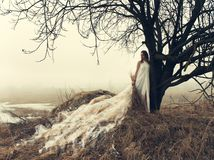Woman In White Dress Stock Images