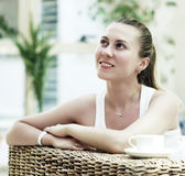 Woman In White With Coffee Royalty Free Stock Photos