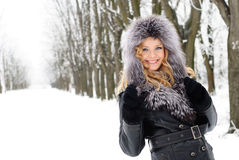 Free Woman In Winter Day Stock Images - 18124014