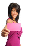 Woman with index card. Selective focus of attractive hispanic woman holding bright index cards on a white background Stock Images