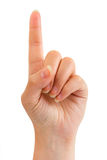 Woman index finger Royalty Free Stock Photo