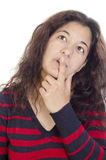 Woman and the index finger on her lips Stock Photos