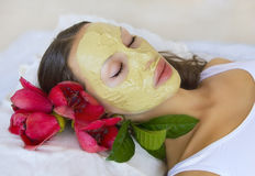 Woman with Indian Multani Matti clay facial mask, beauty spa Royalty Free Stock Photos