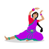 Woman in Indian National Clothes Dance Vector. Woman in indian national clothes dance. Vector in flat design. Young girl with braided hair in violet saree Royalty Free Stock Images