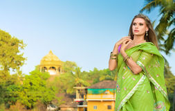 Woman in indian sari. Young fashion woman demonstrating traditional indian sari. India, state Goa royalty free stock photo