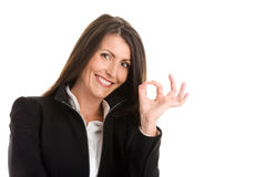 Woman indicating okay sign Stock Images