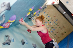 Woman Indoor Free Climbing Stock Photo