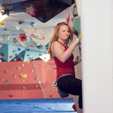 Woman Indoor Free Climbing Royalty Free Stock Images