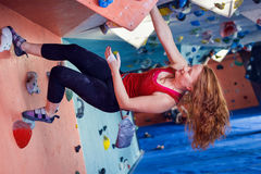 Woman Indoor Free Climbing Royalty Free Stock Photography