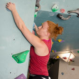 Woman Indoor Free Climbing Stock Photos