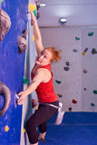 Woman Indoor Free Climbing Royalty Free Stock Photos