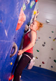 Woman Indoor Free Climbing Stock Photography
