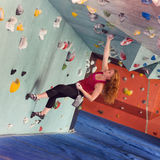 Woman Indoor Free Climbing Royalty Free Stock Image