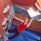 Woman Indoor Free Climbing Royalty Free Stock Photos